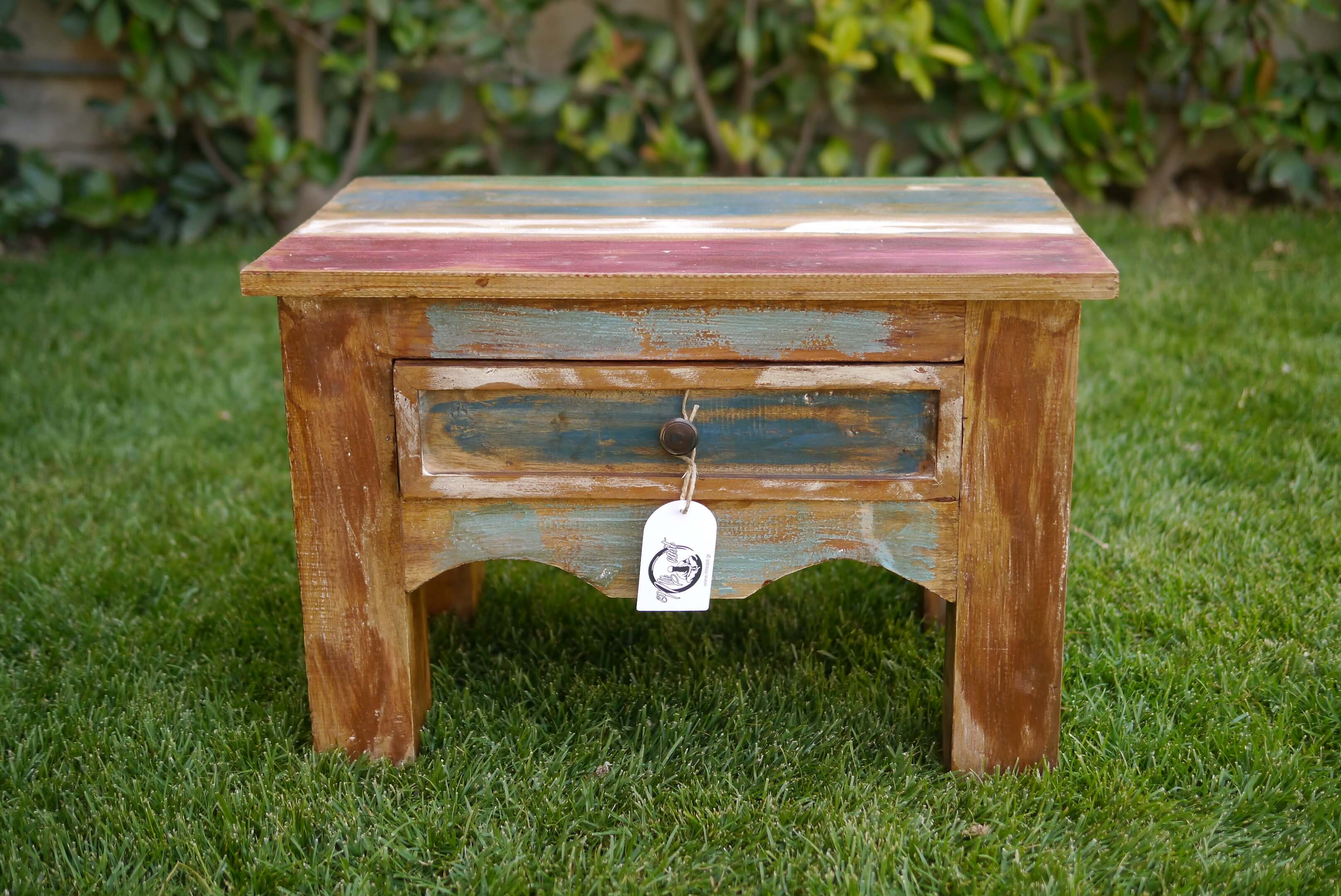 Boat wood coffee table with one drawer 60x40x40cm Furniture