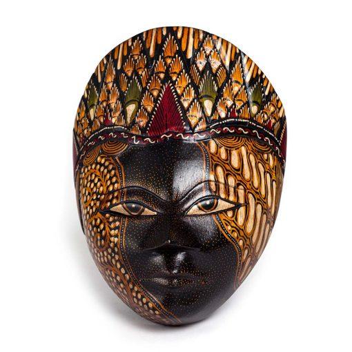 ξύλινη παραδοσιακή μάσκα Ινδονησίας μπατίκ