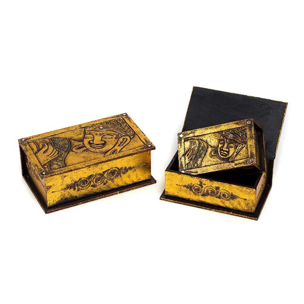 σετ από ξύλινα κουτιά με απεικόνιση Βούδα