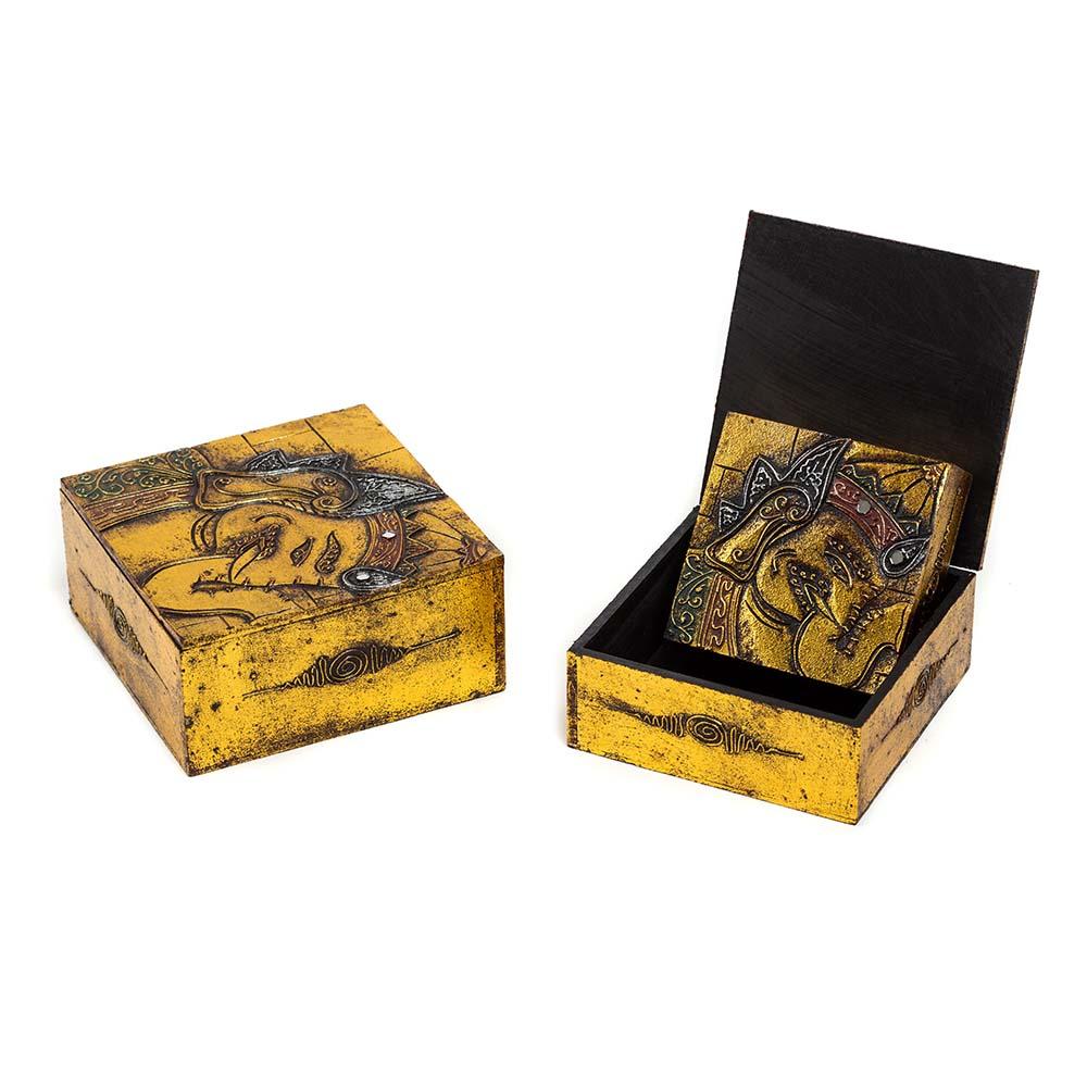 σετ από ξύλινα κουτιά με απεικόνιση Γκανέσα