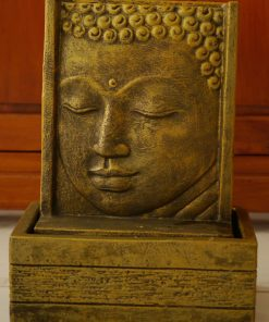 μαύρο και χρυσό συντριβάνι με σκαλιστό πρόσωπο Βούδα
