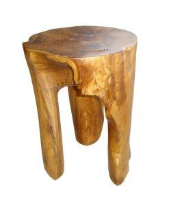 στρόγγυλο ξύλινο σκαμνάκι από ρίζα τικ