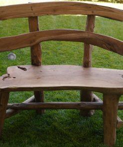 ξύλινο παγκάκι κήπου από ρίζα τικ