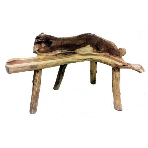 ξύλινο παγκάκι από ρίζα τικ