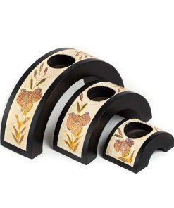 σετ από τρία κηροπήγια με ημικυκλικό σχήμα