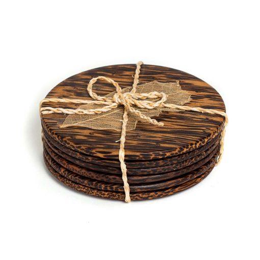 στρόγγυλα σουβέρ από ξύλο φοίνικα