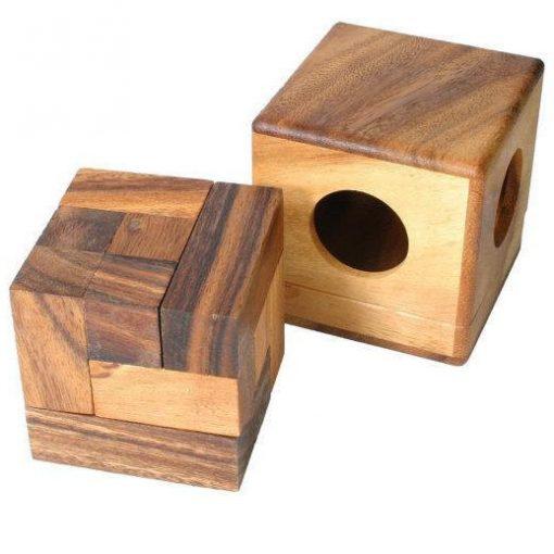 ξύλινο παιχνίδι παζλ κύβος σε κουτί, μεγάλο