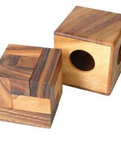 ξύλινο παιχνίδι παζλ κύβος σε κουτί, μικρό