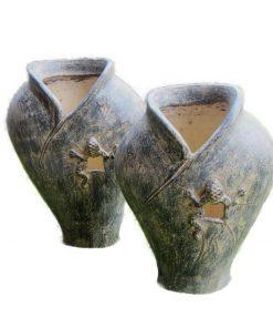 σετ βάζων διακοσμημένα με σκαλιστά γκέκο