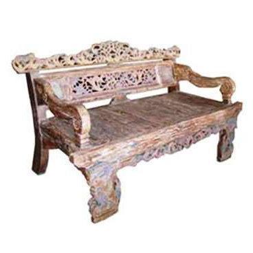 σκαλιστός καναπές- κρεβάτι από ξύλο τικ