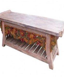 σκαλιστό ξύλινο τραπέζι από τικ