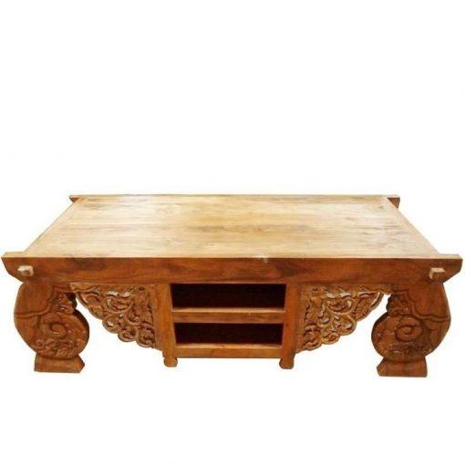 σκαλιστό τραπέζι τηλεόρασης από ξύλο τικ