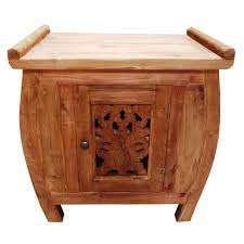 κομοδίνο με ντουλάπι από ξύλο τικ