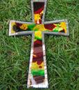 ψηφιδωτός σταυρός με χρωματιστό γυαλί