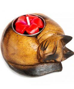 ξύλινο σκαλιστό κηροπήγιο με μορφή γάτας