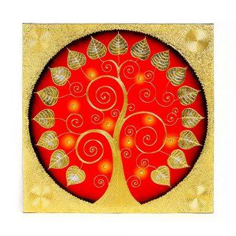 ελαιογραφία διακοσμημένη με χρυσά φύλλα