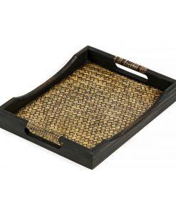 ξύλινος δίσκος σερβιρίσματος από ξύλο μάνγκο με πλέξη
