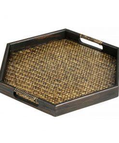 ξύλινος δίσκος σερβιρίσματος από ξύλο μάνγκο με πλέξη από μπαμπού