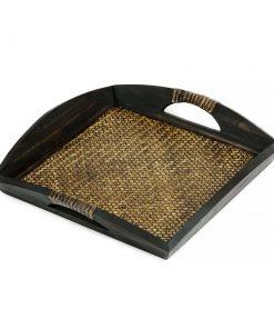 δίσκος σερβιρίσματος από ξύλο μάνγκο με πλέξη