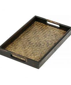 δίσκος σερβιρίσματος από πλεκτό μπαμπού και ξύλο