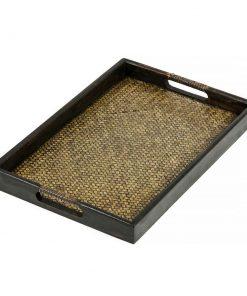 δίσκος σερβιρίσματος από πλεκτό μπαμπού και ξύλο μάνγκο