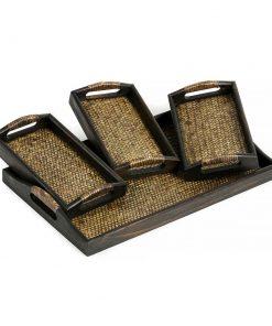 σετ δίσκων σερβιρίσματος από ξύλο μάνγκο με πλέξη από μπαμπού