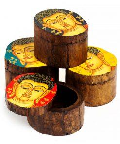 ξύλινο στρόγγυλο κουτάκι με ζωγραφισμένο Βούδα
