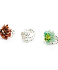 δαχτυλίδι με λουλούδι από λευκούς, τιρκουάζ ή καφέ κρυστάλλους