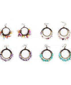 σκουλαρίκια κρίκοι με τιρκουάζ, αμέθυστο ή πολύχρωμα