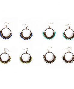Σκουλαρίκια κρίκοι με τιρκουάζ, μπλε, κίτρινο αχάτη ή μαύρο όνυχα