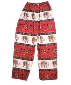 κόκκινη παντελόνα παραλίας με ελεφαντάκια